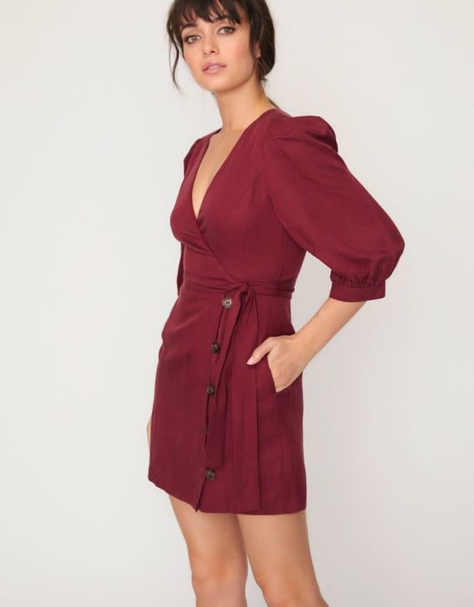 Lost & Wander Wrap Mini Dress w/Puffed Sleeves