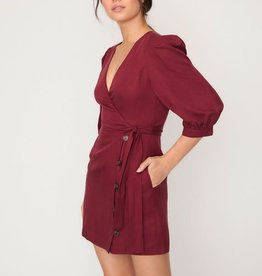 Lost & Wander Wrap Mini Dress w/Puffed Sleeves