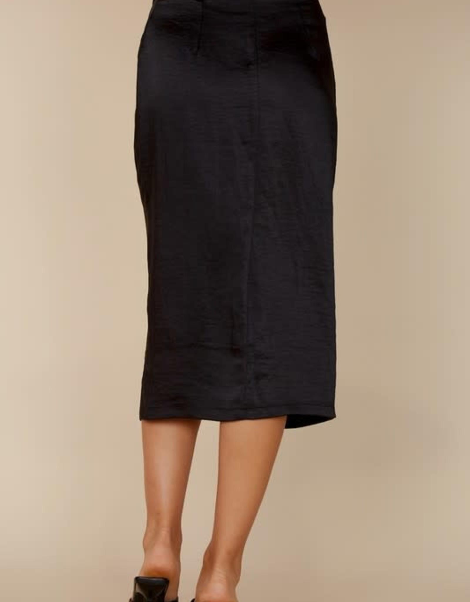 Blue Blush Black Satin Midi Skirt