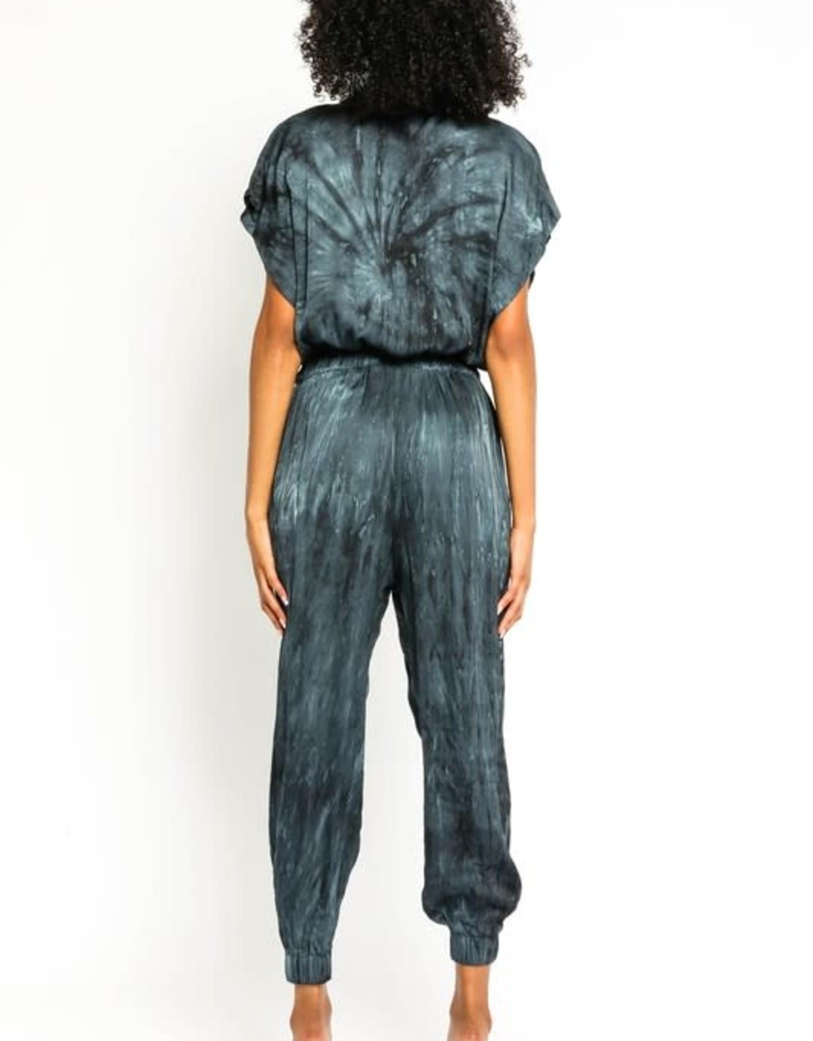 Olivaceous Navy Satin Tie Dye Jumpsuit