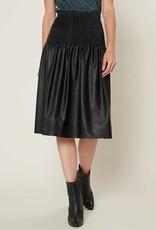 Current Air Vegan Leather Midi Skirt