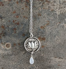 Bird in the Sky Silver Lotus w/Moonstone Necklace