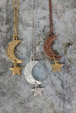 Bird in the Sky Gold Large Moon & Star Necklace