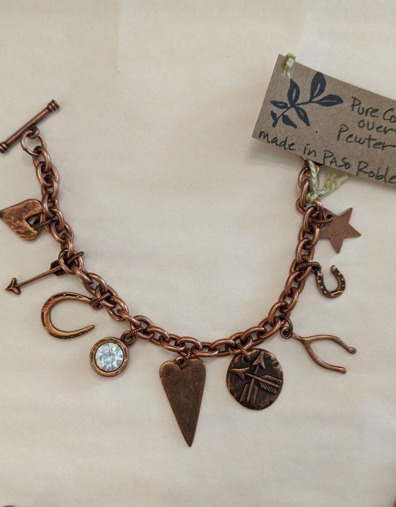 Bird in the Sky Charm Bracelet Gold or Copper