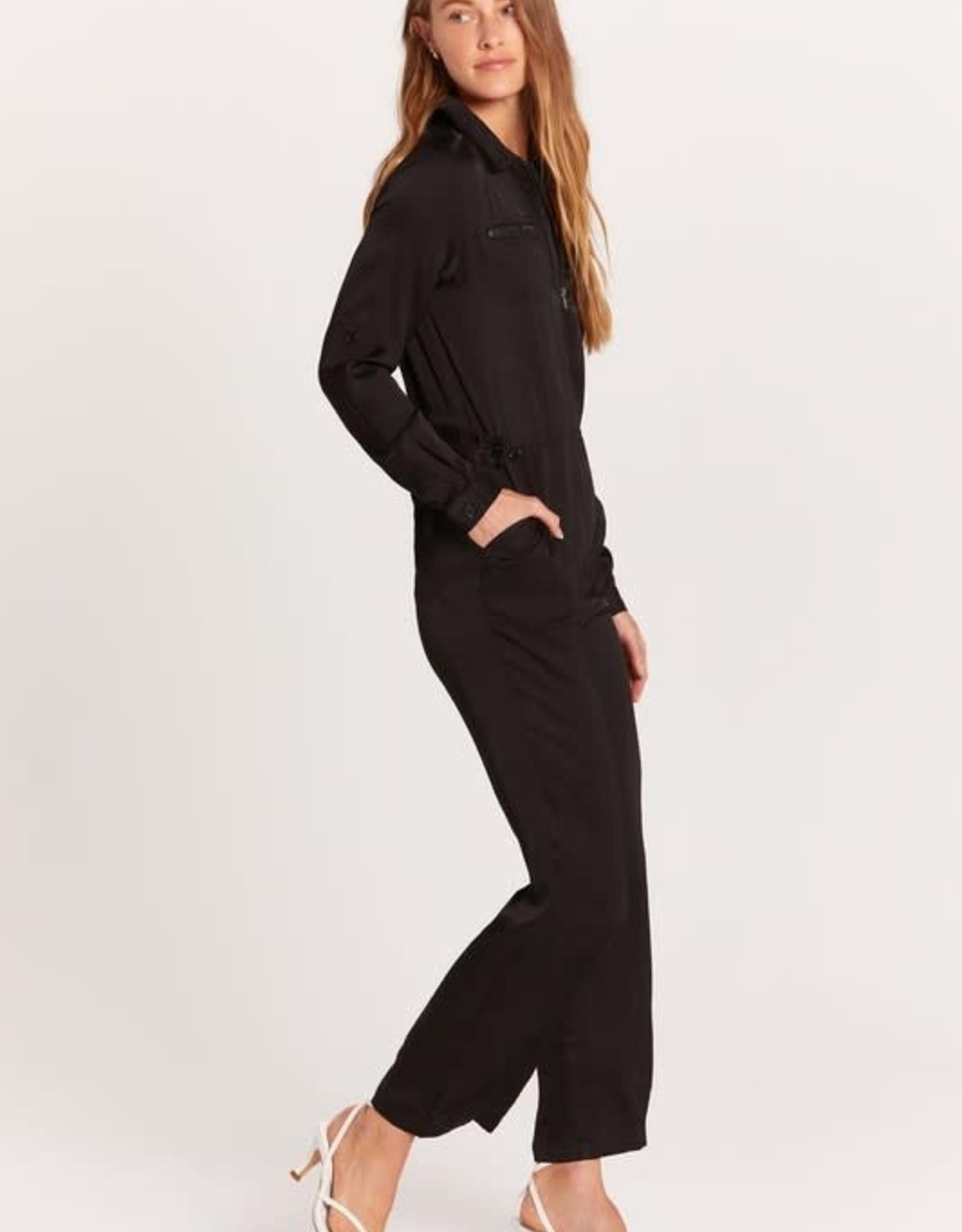 Olivaceous Black Satin Zip Front Jumpsuit