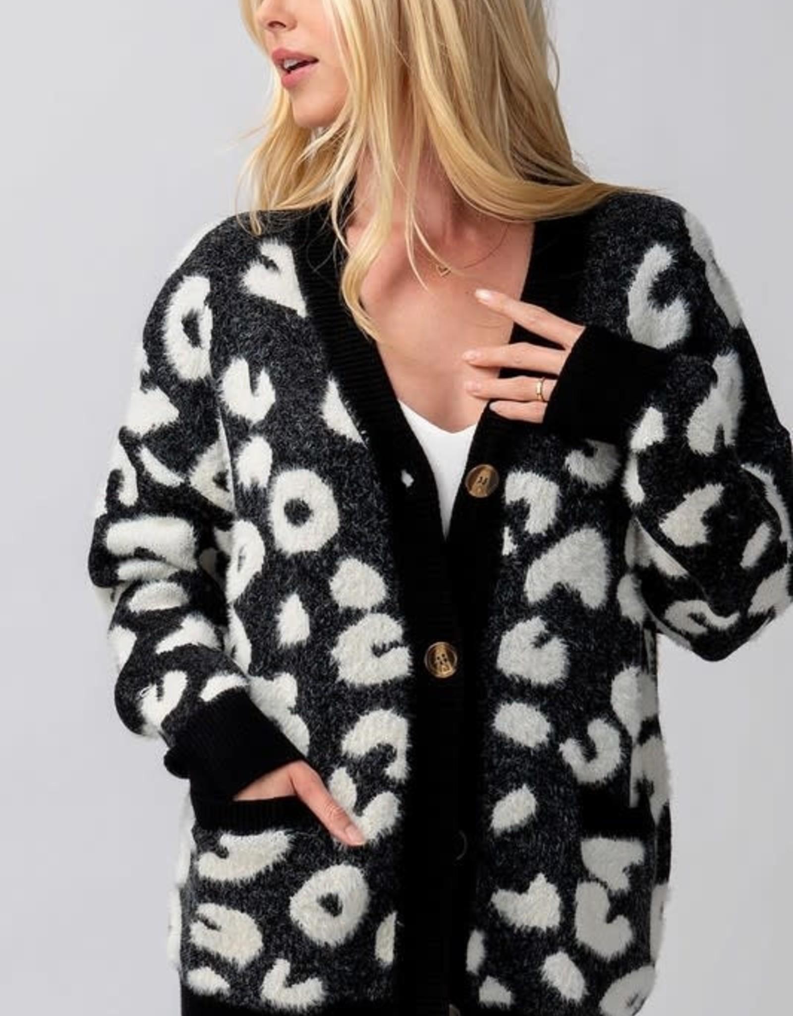Fuzzy Black Leopard Cardi