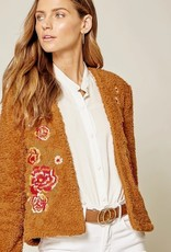 Andree Rose Embroidered Faux Fur Jacket