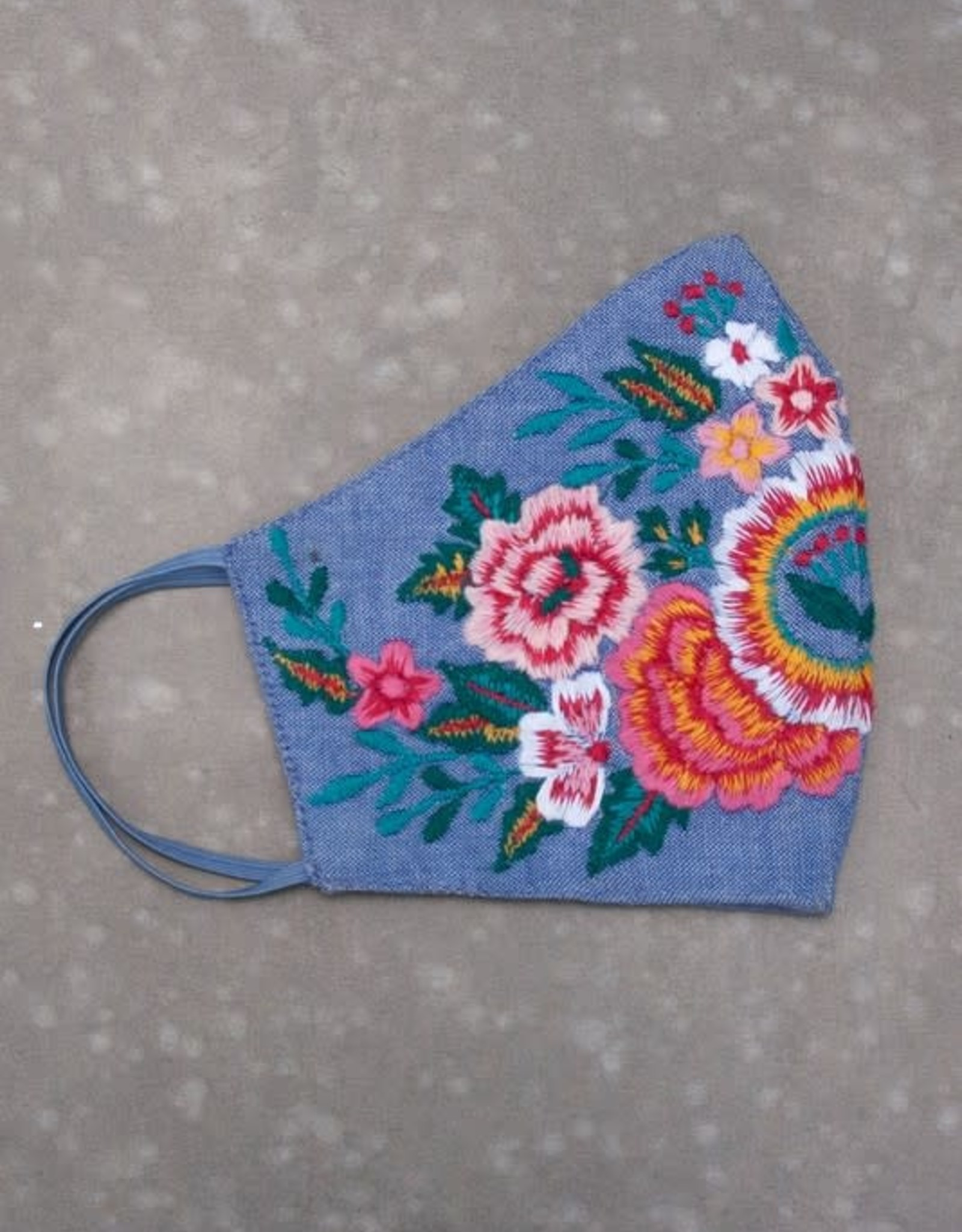 Caite Embroidered Chambray Face Mask