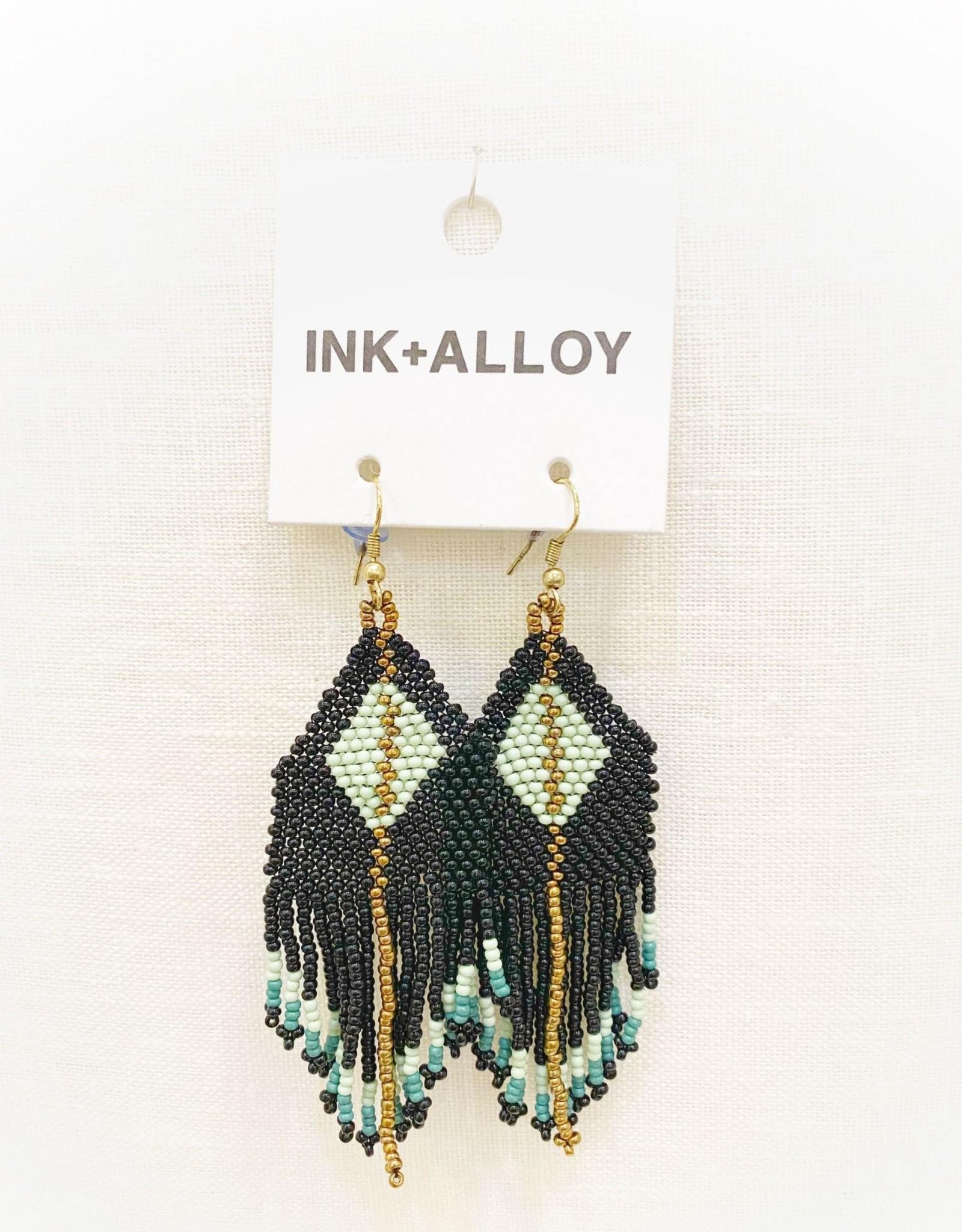 Ink+Alloy Diamond w/Stripe Fringe Seed Bead Earring