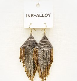 Ink+Alloy Gunmetal and Gold Fringe Earrings
