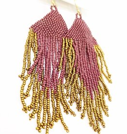 Ink+Alloy Port/Gold Fringe Earrings
