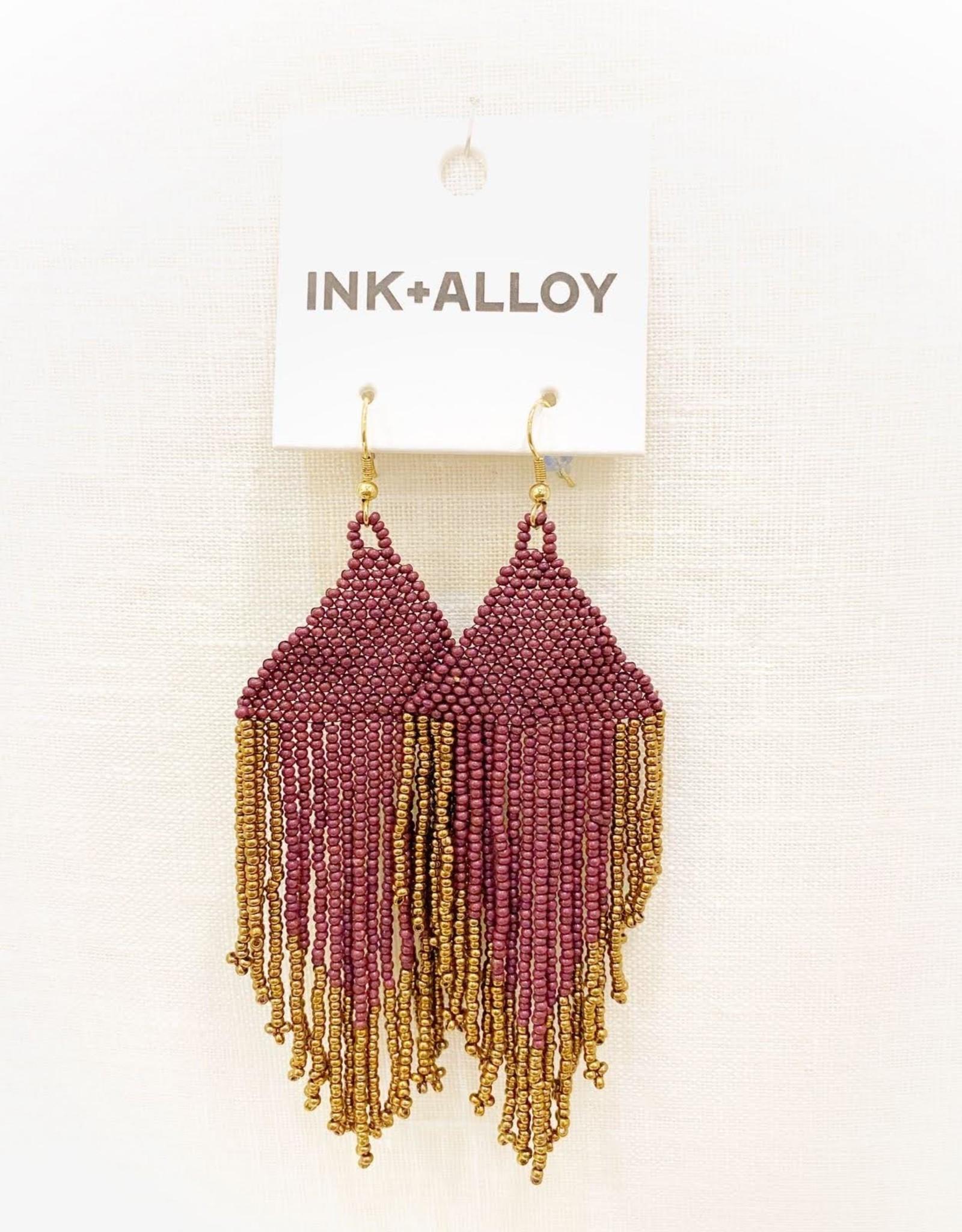 Ink+Alloy Port/Gold Fringe Earrings