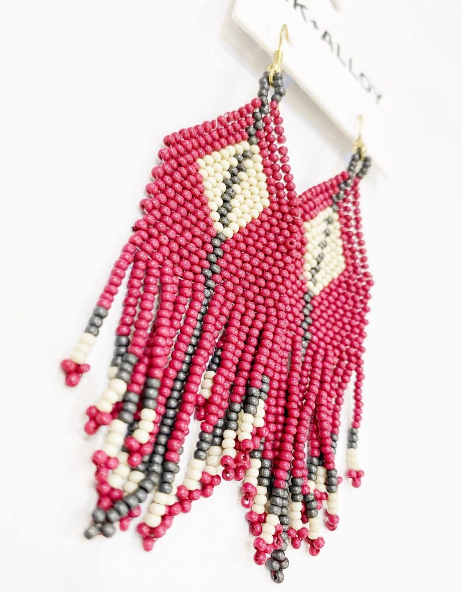 Ink+Alloy Seed Bead Diamond Fringe Earring