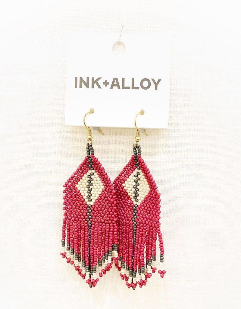 Ink+Alloy Seed Bead Diamond Fringe Earring