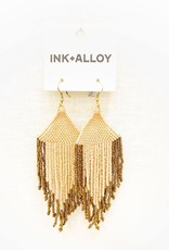 Ink+Alloy Blush Pink and Gold Fringe Earrings