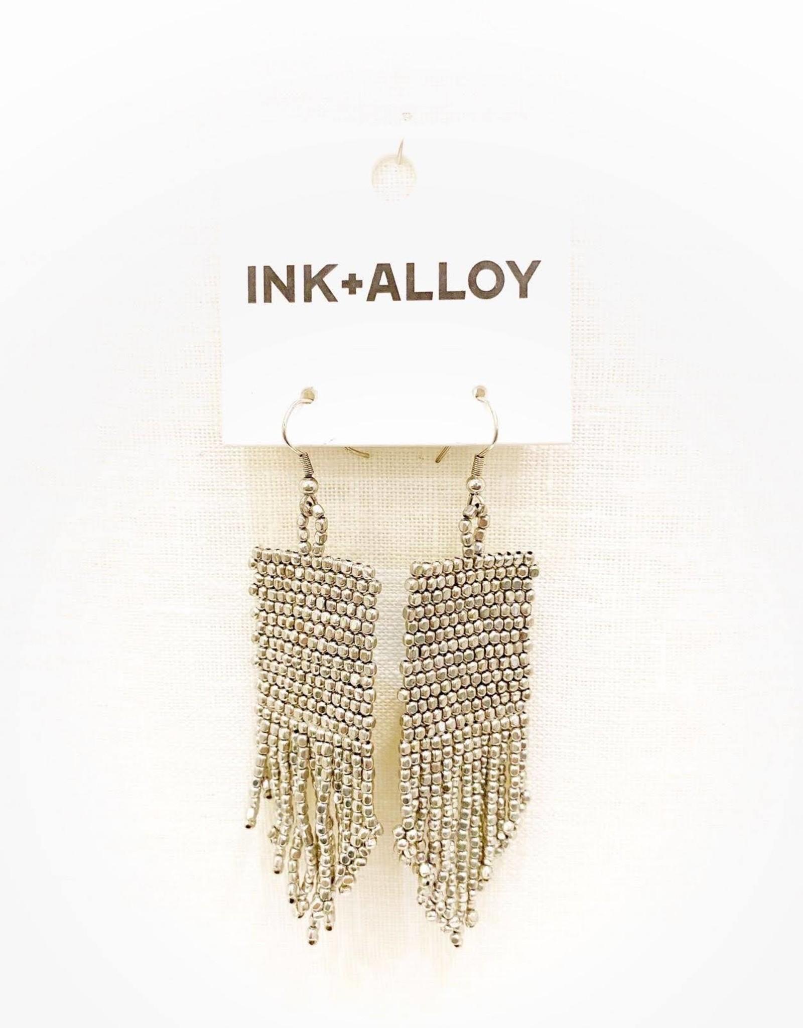 Ink+Alloy Silver Seed Bead Earrings