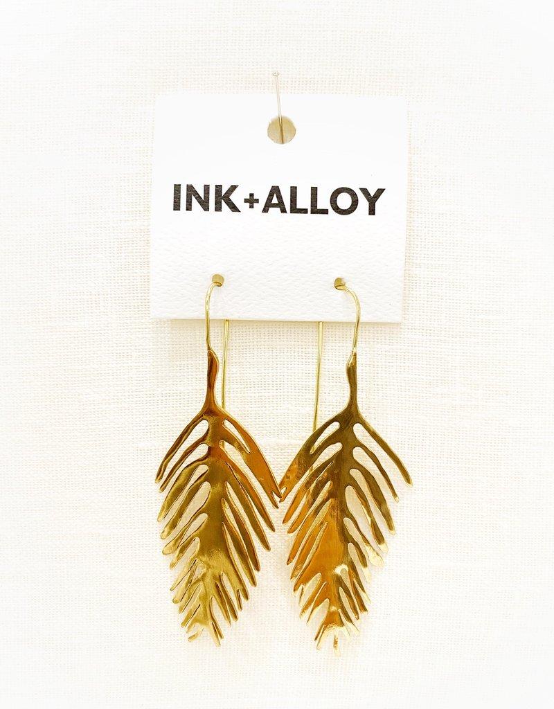 Ink+Alloy Palm Leaf Drop Earring