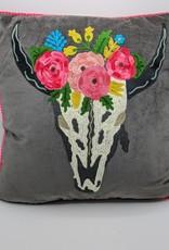 Karma Living Embroidered Velvet Cushion