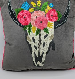 Karma Living Embroidered Velvet Cushion