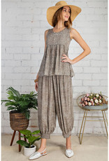 Smocked Print Harem Pants