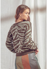 Olive Zebra Sweater