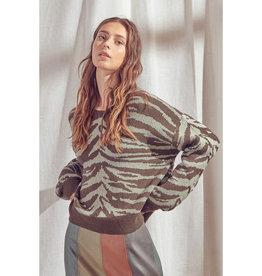Olive Zebra Sweater