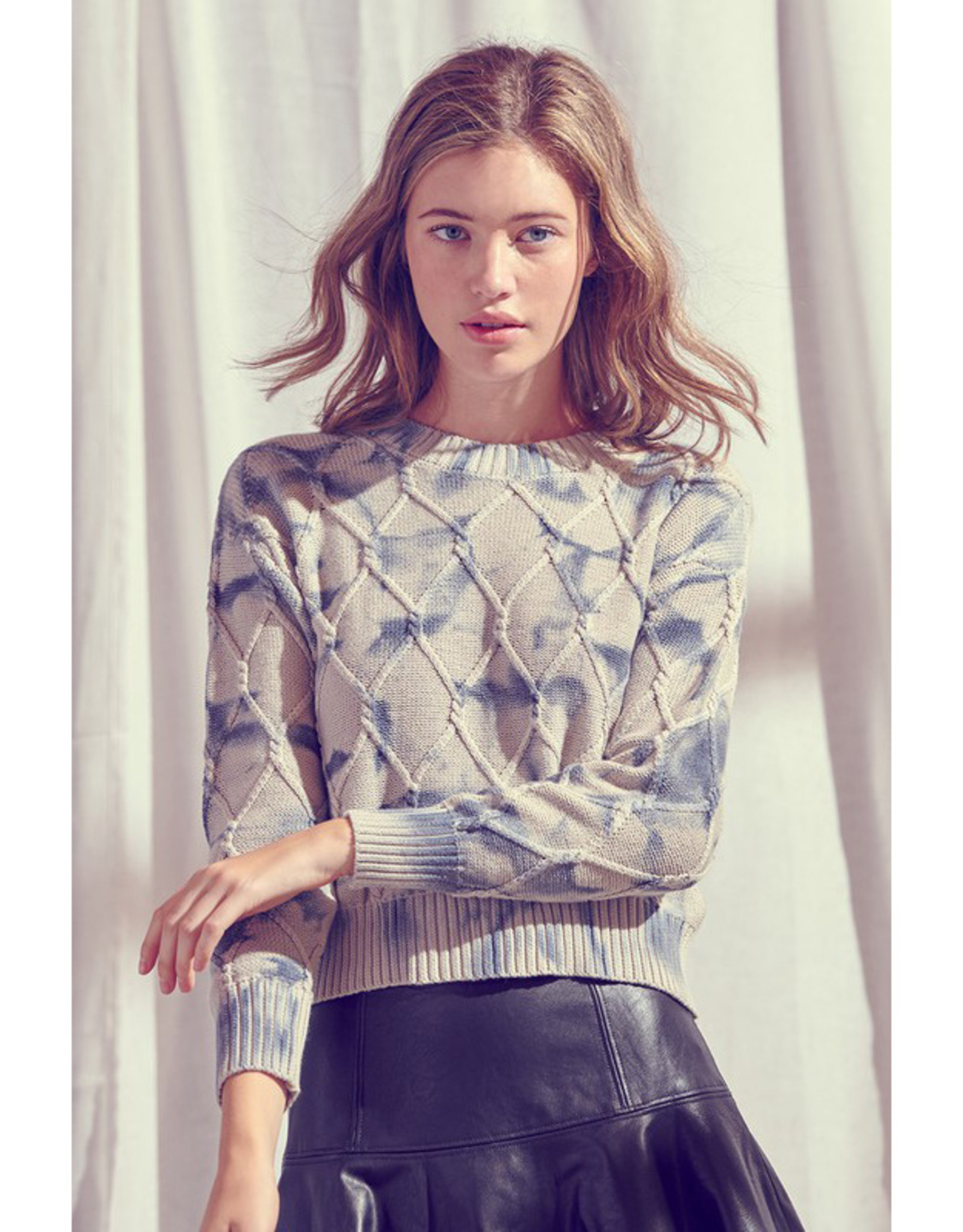 Tie Dye Cable Knit Sweater