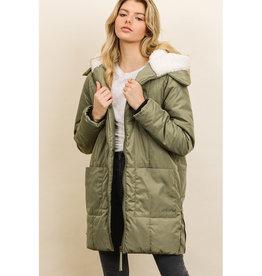 Down Coat w/Sherpa Hood