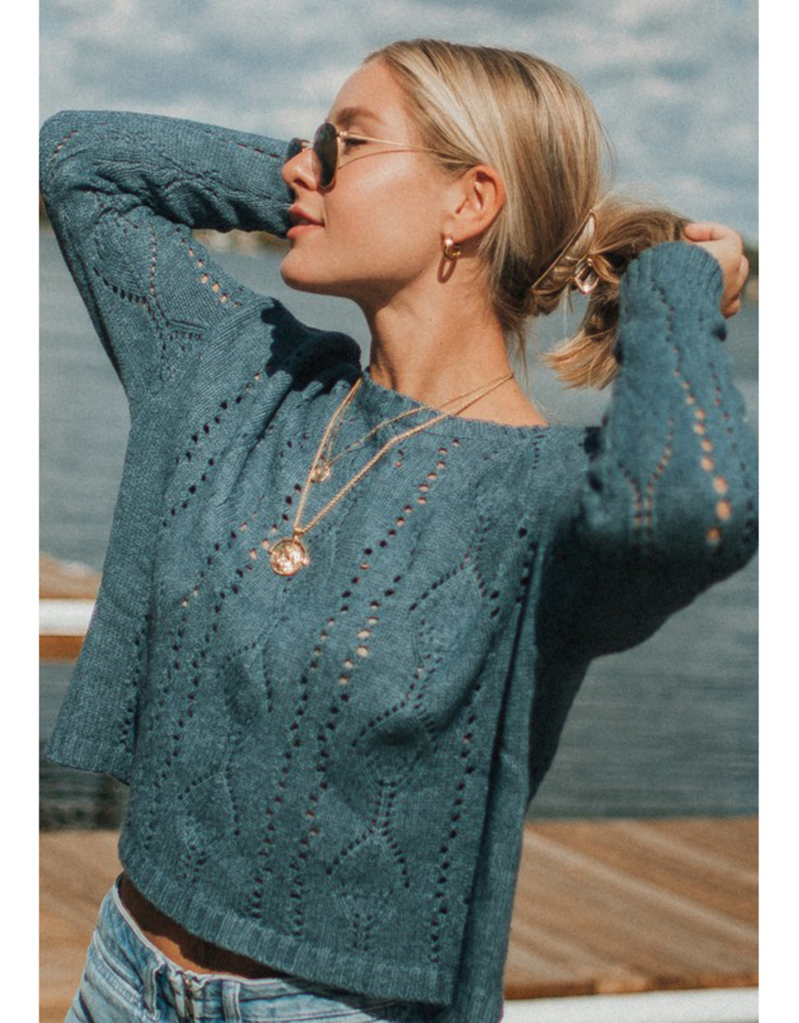 Boxy Pointelle Sweater