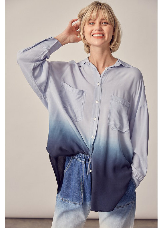 Mustard Seed Blue Ombre Button Down Shirt