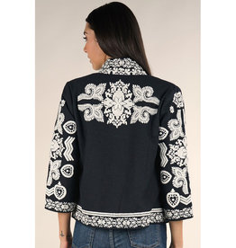 Lovestitch Black & White Embroidered Jacket