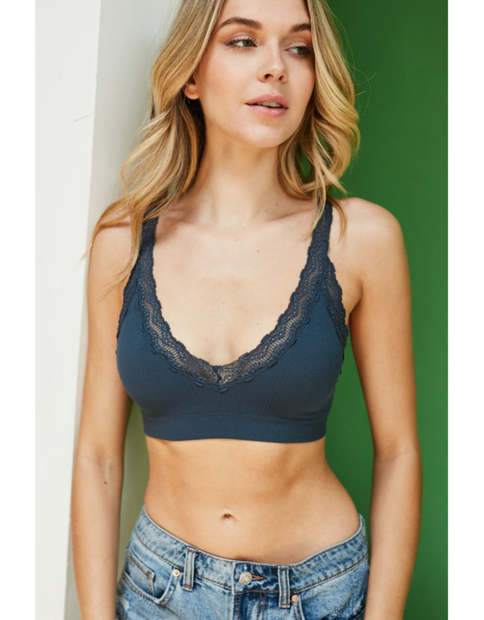 Leto Accessories Lace Edge Seamless Bralette