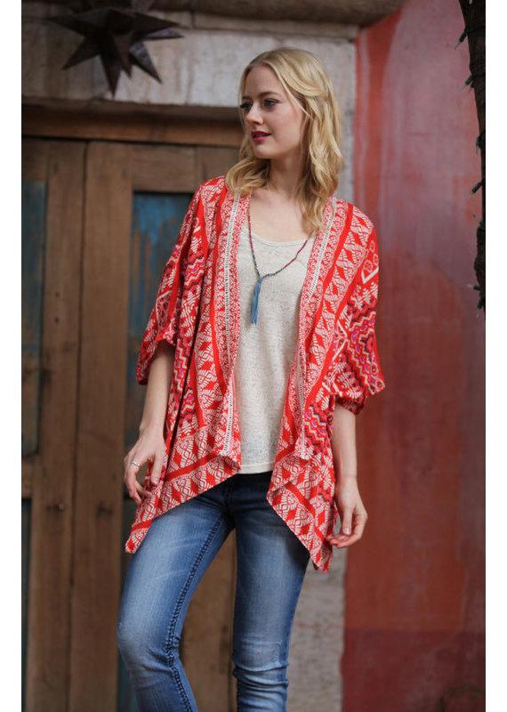 Angie Red Print Kimono