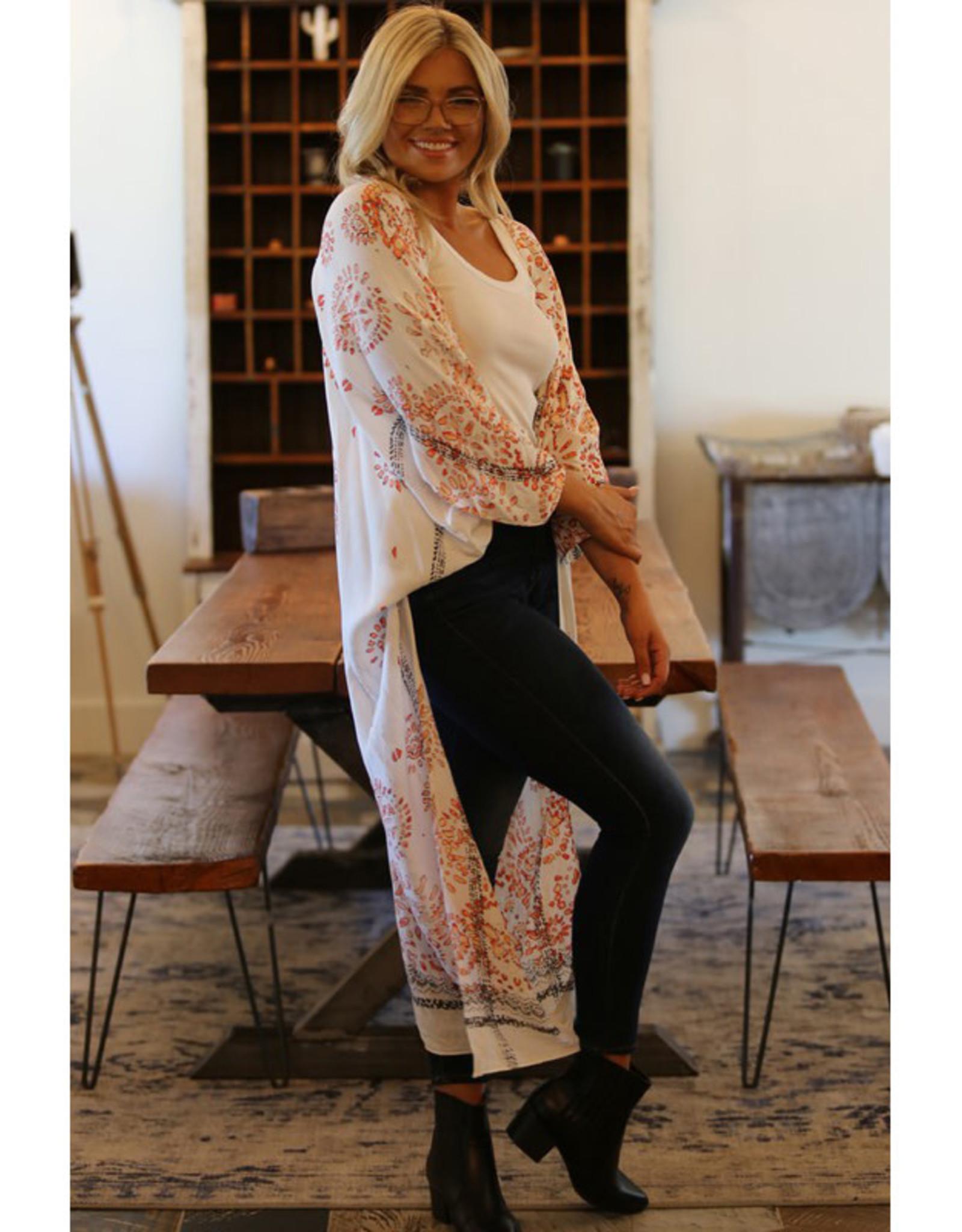 Angie Pale Print Long Kimono