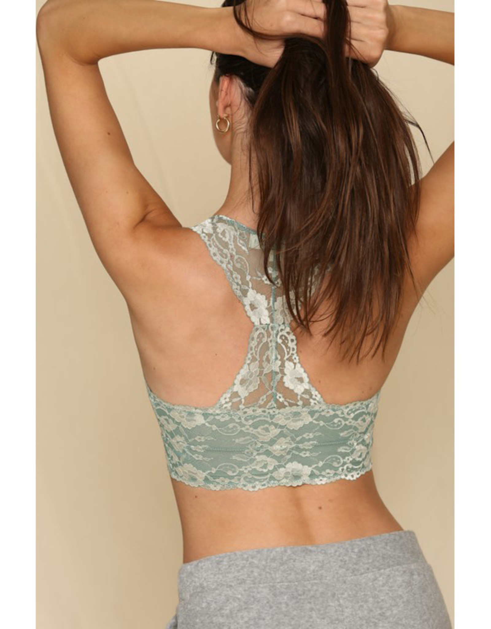 by together Two Tone Lace Racerback Bralette