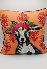 Karma Living Goat on Damask Velvet Pillow