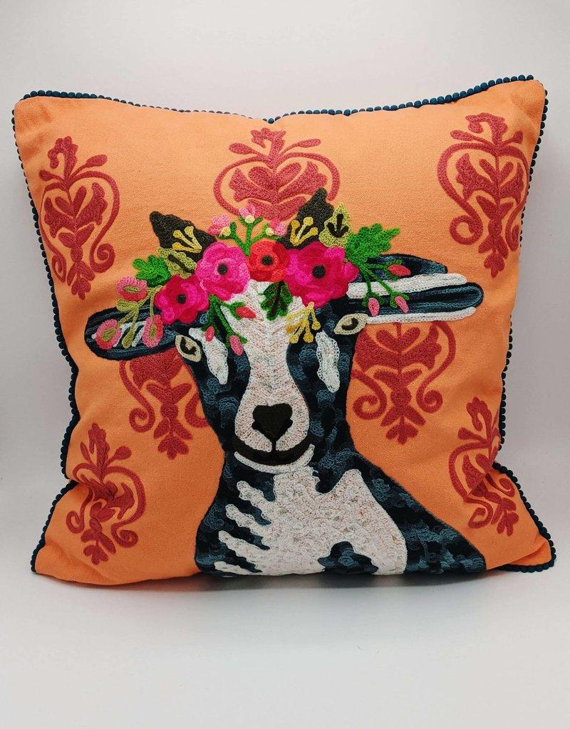 Karma Living Goat on Damask Velvet Pillow