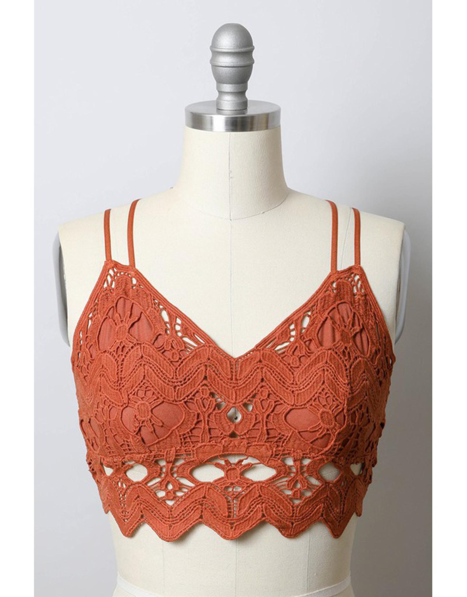 Leto Accessories Cotton Crochet Bralette