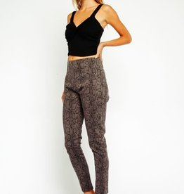 Olivaceous Grey Snake Print High Waist Pants