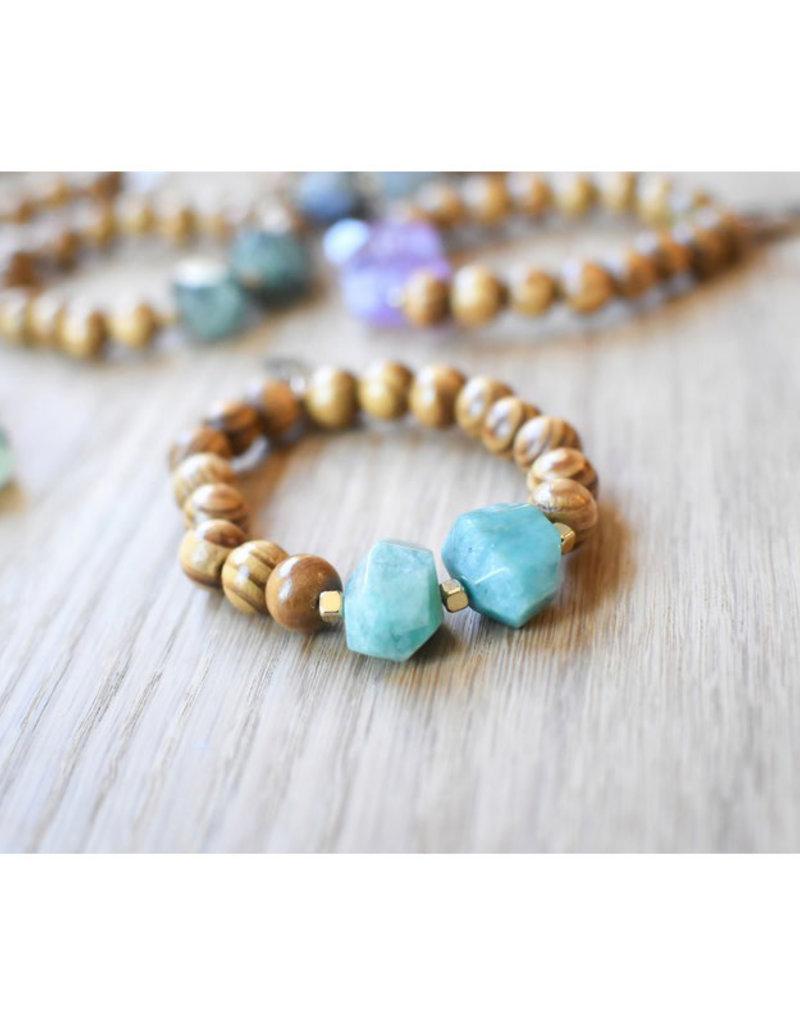 Handmade Wood & Gemstone Bracelet
