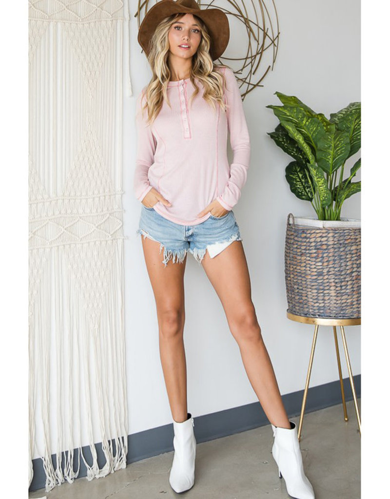 Pink Ribbed Henley Tee