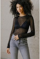 Moon Embroidered Mesh Top