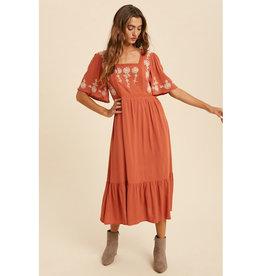 In Loom Embroidered Square Neck Midi Dress