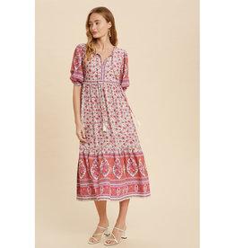 In Loom Border Print Midi Dress