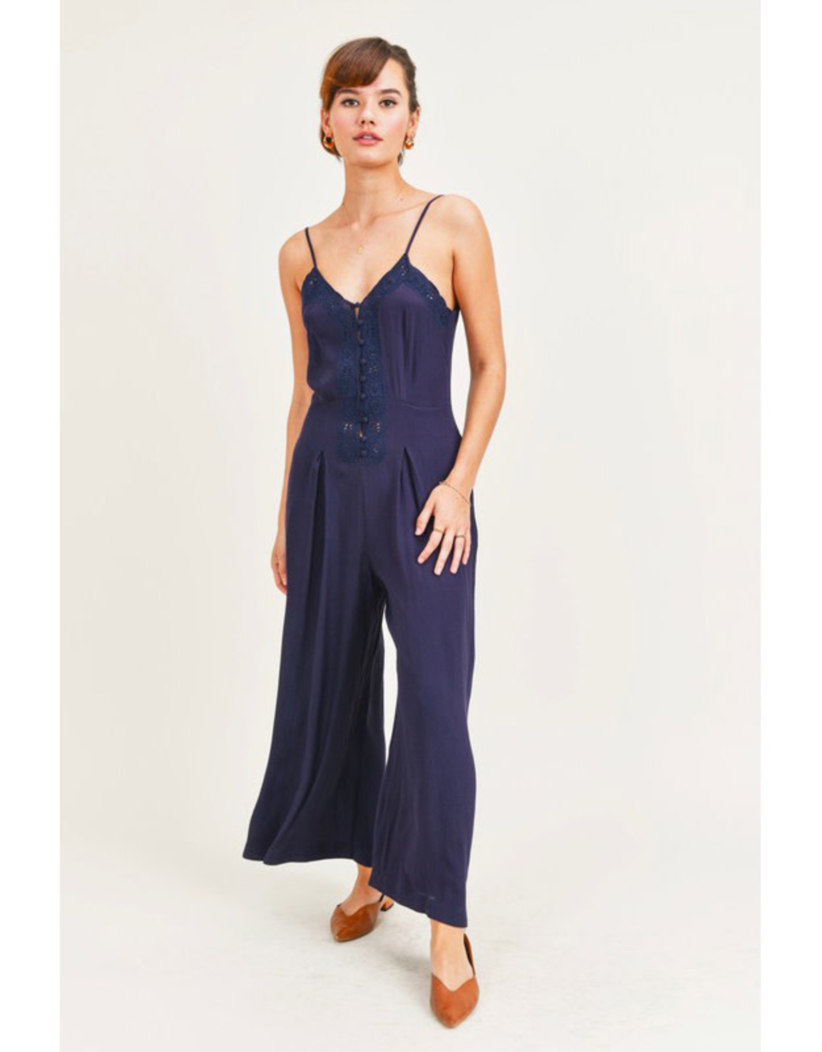 Jane + One Navy Embroidered Jumpsuit
