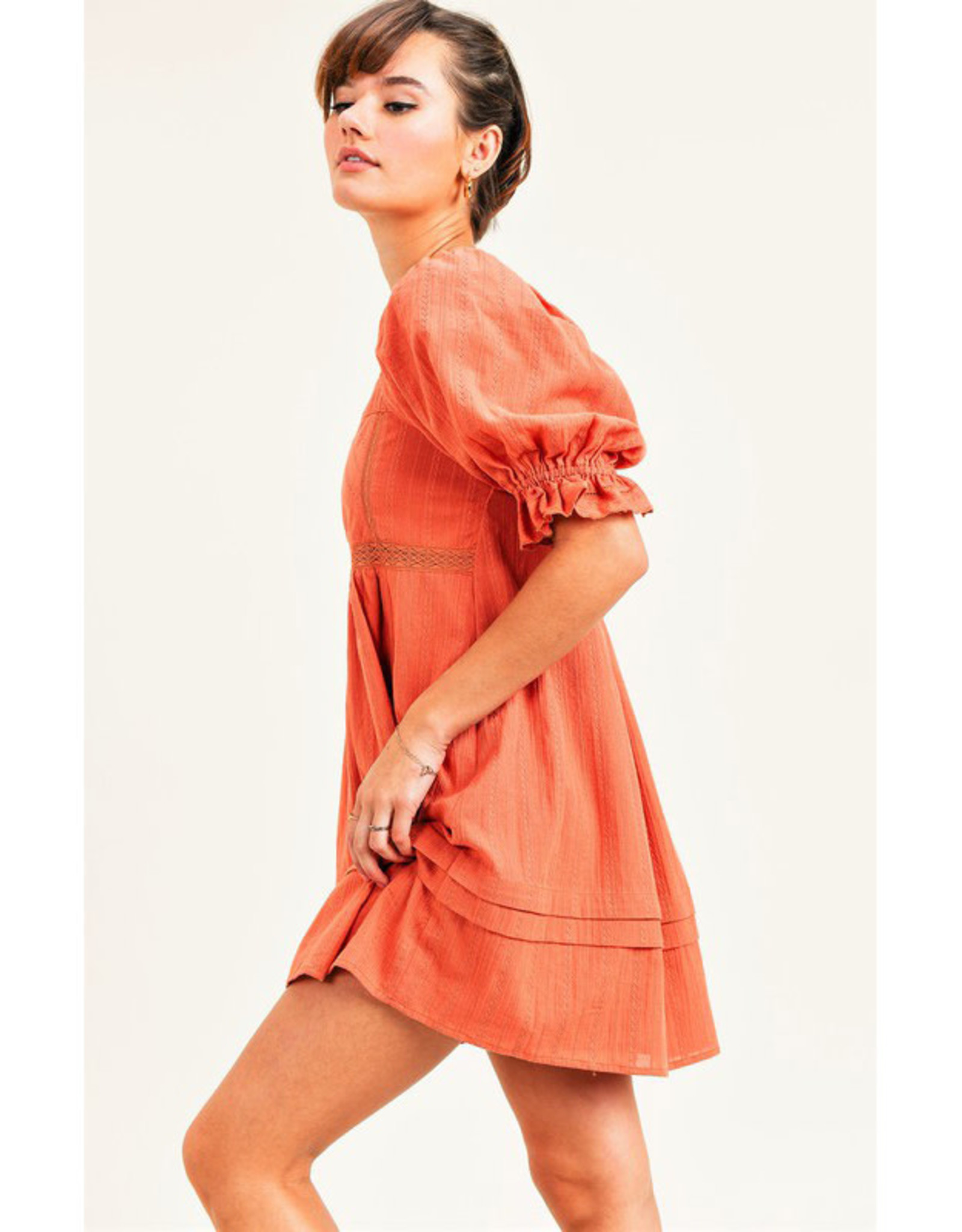 Jane + One Persimmon Embroidered Mini Dress