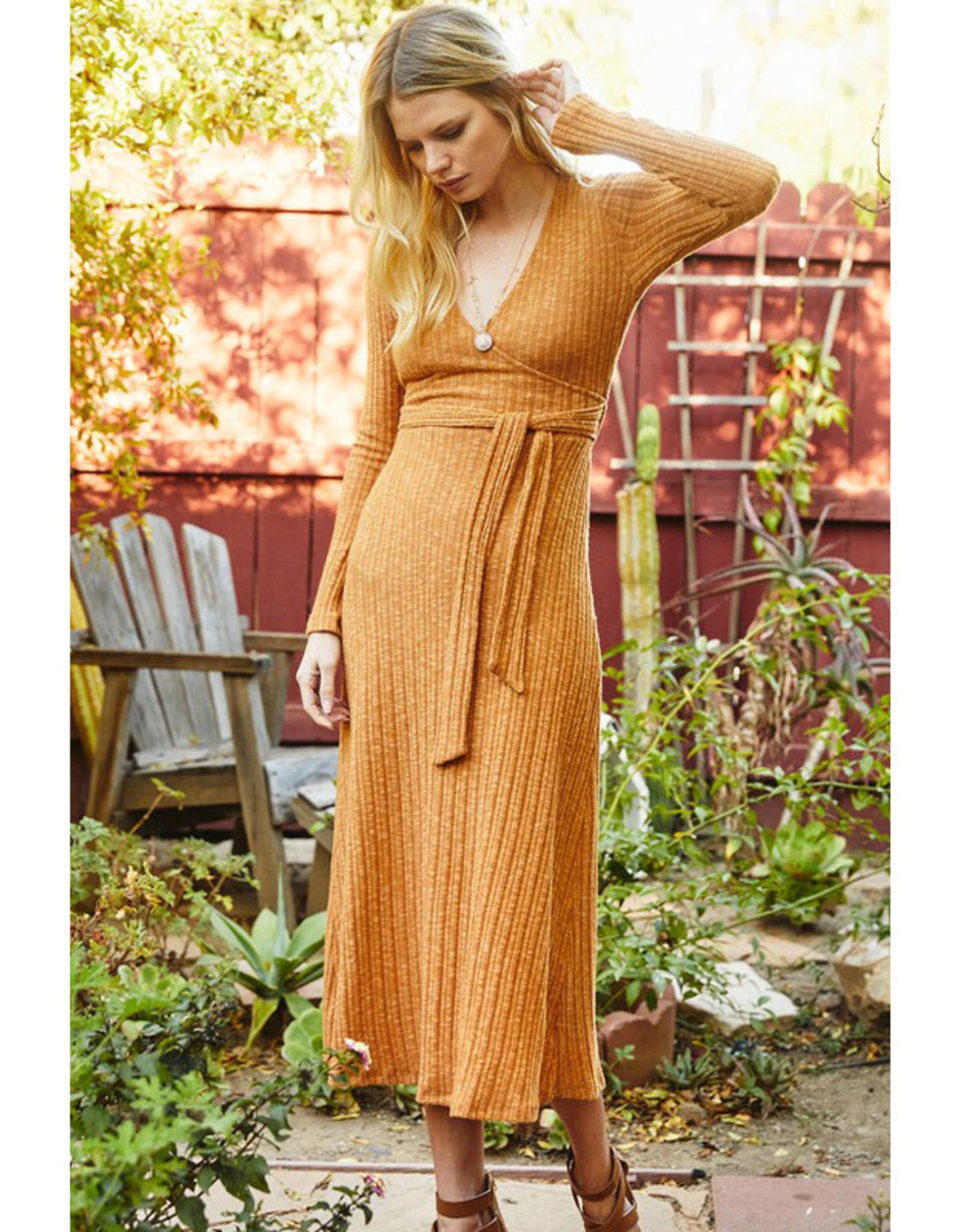 Rib Knit Wrap Midi Dress