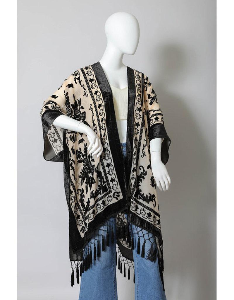 Velvet Mesh Kimono w/Tassels