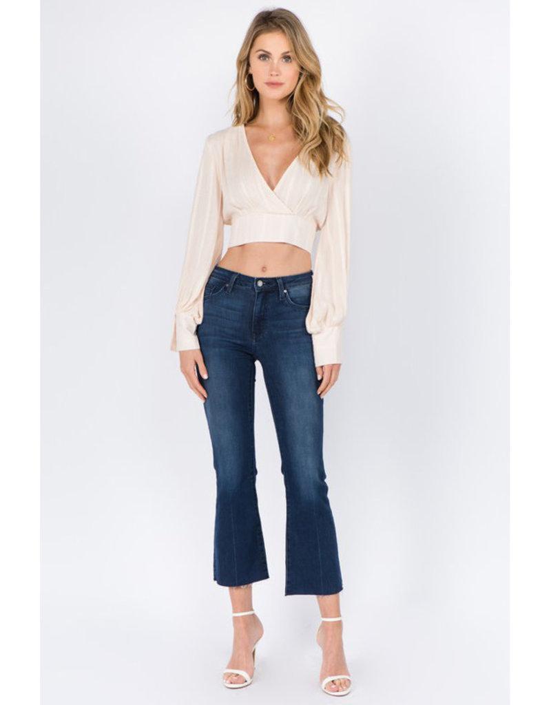 Peach Long Sleeve Crop Top