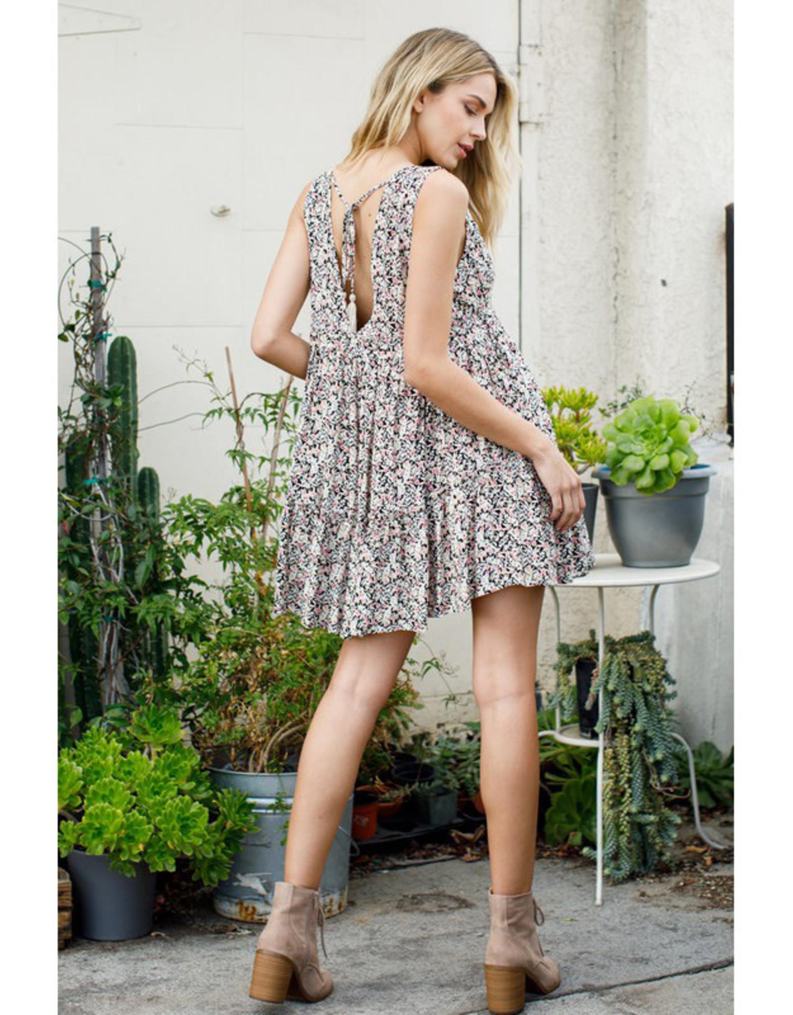 Deep V Print Mini Dress